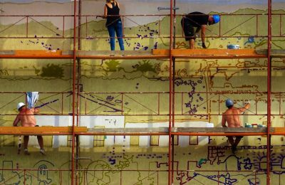 Workers On A Scaffolding